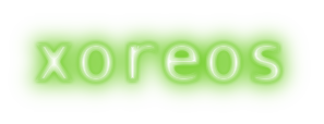 "The xoreos logo: the word ""xoreos"" rendered in neon green"